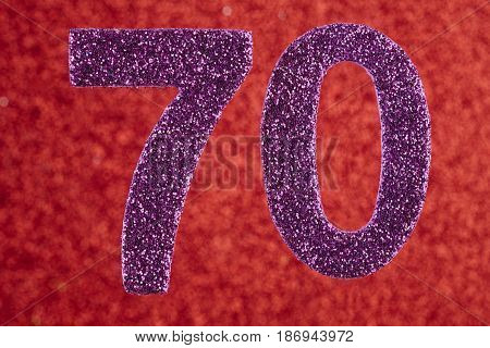 Number seventy purple color over a red background. Anniversary. Horizontal