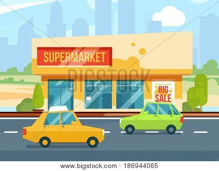 Supermarket exterior. Modern urban buildings, Cityscape with mall. Parking with cars. Vector illustration set. Building exterior, supermarket, urban store market