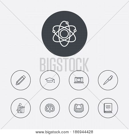 Set Of 9 Science Outline Icons Set.Collection Of Pupil, Backpack, Atom And Other Elements.
