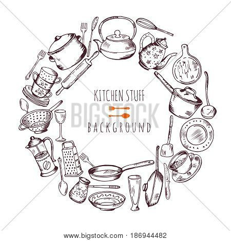 Hand drawn cooking icons in circle shape. Vector line illustration. Frame emblem with kitchen tools pot dish and spatula, different kitchen tools design