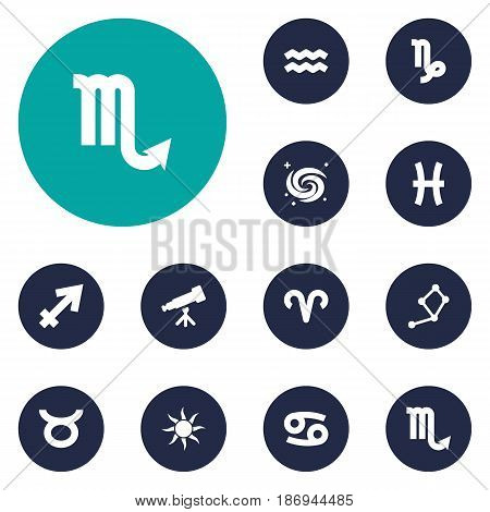 Set Of 12 Astronomy Icons Set.Collection Of Zodiac Sign, Binoculars, Goat And Other Elements.