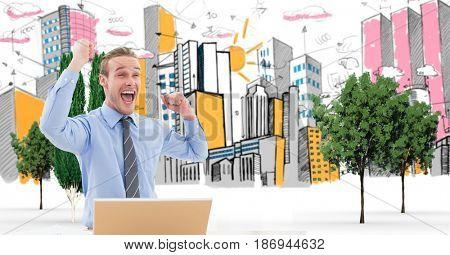 Digital composite of Digital composite image of excited businessman celebrating against drawn city