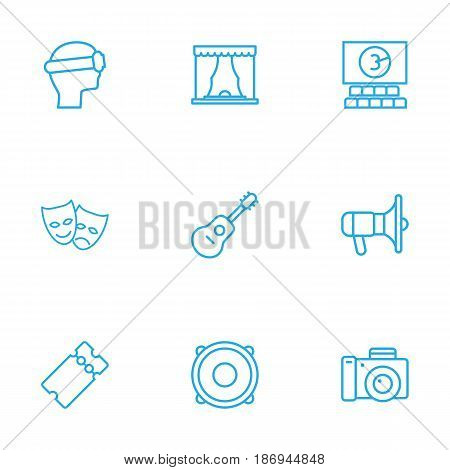 Set Of 9 Entertainment Outline Icons Set.Collection Of Cinema, Masks, Vr Helmet And Other Elements.