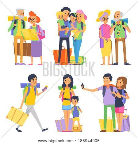 Happy family goes to vacation. Mother father and children. Grandmother and grandfather. Vector illustration. Family mother father on vacation, holiday grandfather and grandmother
