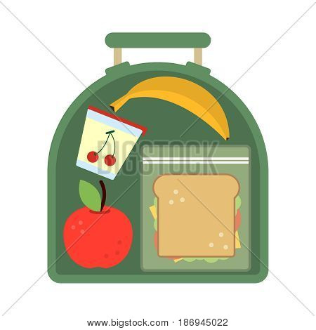 Lunchbox with food. Meal, apple and sandwich. Healthy cartoon vector illustration. School lunch apple with banana, food lunch box