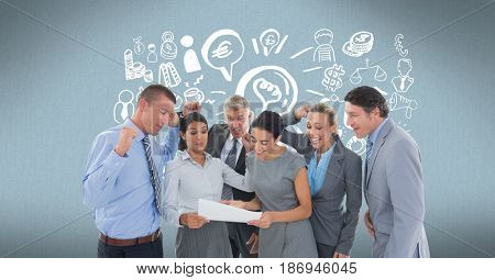 Digital composite of Digitally generated image of cheerful business people reading document with various icons in backgro