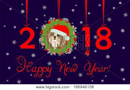Greeting decorative card with puppy of shi tsu, hanging numbers and paper wreath for Chinese New year 2018
