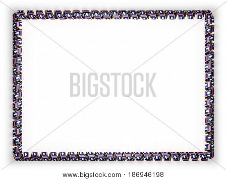 Frame and border of ribbon with the state Wyoming flag USA edging from the golden rope. 3d illustration