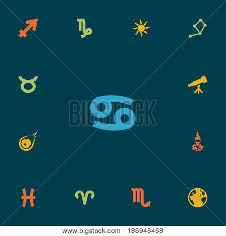 Set Of 13 Astrology Icons Set.Collection Of Augur, Horoscope, Goat And Other Elements.