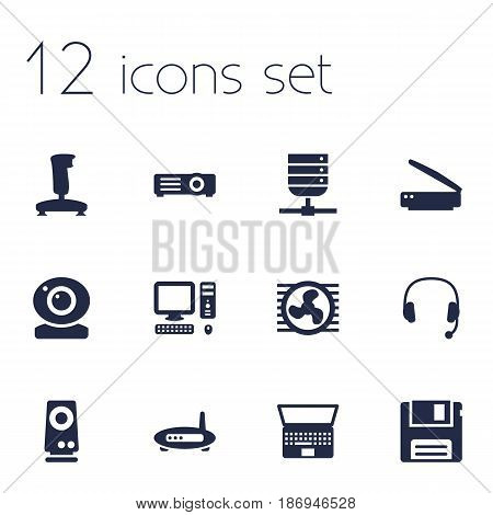Set Of 12 Notebook Icons Set.Collection Of Headset, Amplifier, Notebook And Other Elements.