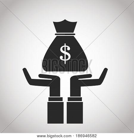hand with bag money cash. banking pictogram image vector illustration