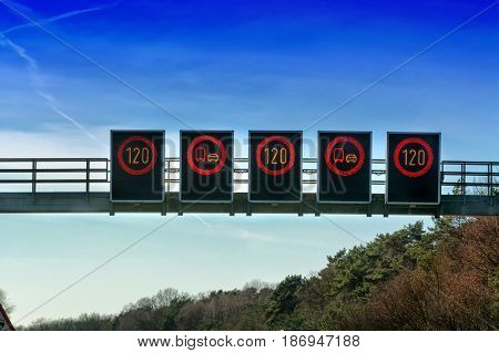 Signage on bridge over the motorway A 2 direction Dortmund in Germany.