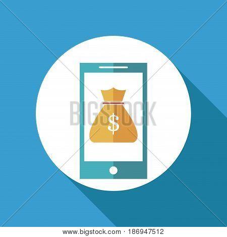 smartphone bag money online banking vector illustration
