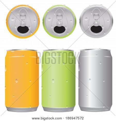 set an open beer can 330 ml in drops of water. top view and side view. three color orange green and metallic
