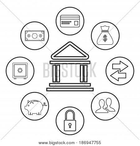 bank building money security trasnfer online outline vector illustration