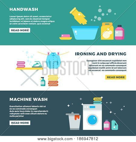 Washing and drying clothes, laundry service vector advertising banner. Service washing machine, illustration of wash banner