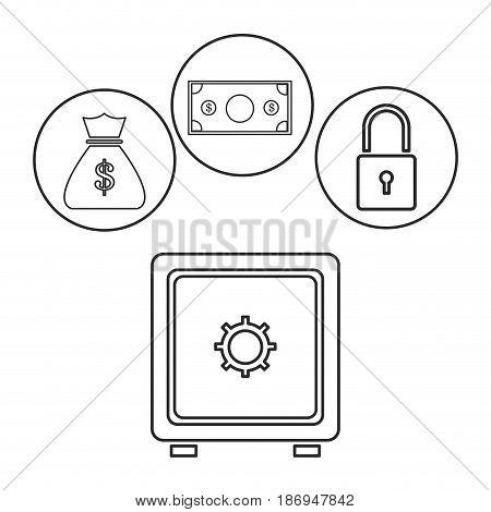 box safe money security bag money dollar outline vector illustration