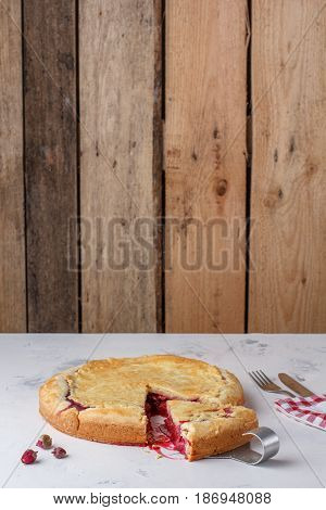 Fresh Homemade Cherry Pie On A White Background. Juicy Piece Of Cherry Pie.