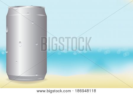 vector aluminum cans in drops of water on the beach background. chilled drink. mockup