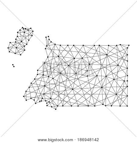 Map of Equatorial Guinea from polygonal black lines and dots of vector illustration