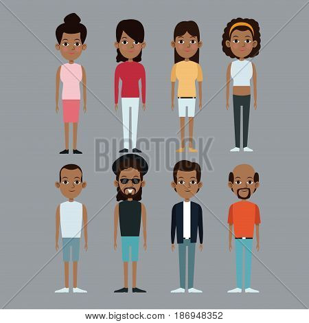 character group man and woman afro american vector illustration