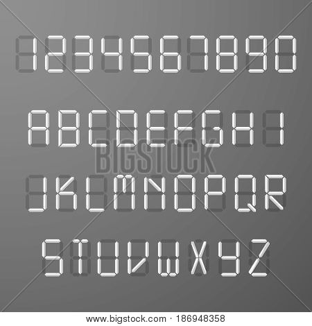Digital 3d display time numbers and letters vector set. Number and alphabet letters, illustration of numeral character and abc