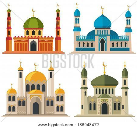 Arabic muslim mosques and minarets. Religious eastern architecture cartoon buildings. Islam architecture traditional, illustration of religious islam building