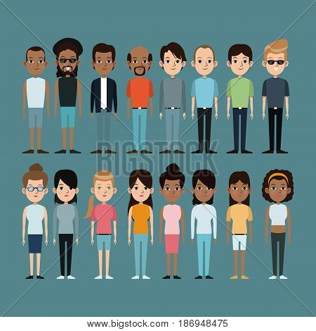 cartoon people caucasian and afro american community standing vector illustration