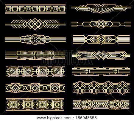 Art deco vector line borders set in 1920s graphic style. Vintage border pattern, illustration of frame golden baroque