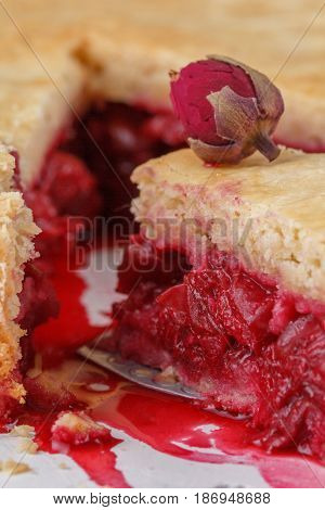 Fresh Home-made Cherry Pie. A Juicy Piece Of Cherry Pie Decorated With A Small Rose. Slice Of Pie Wi