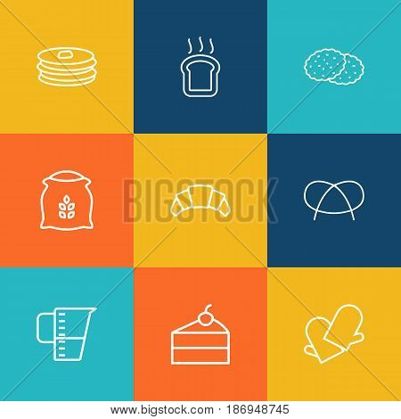 Set Of 9 Bakery Outline Icons Set.Collection Of Croissant, Flour, Cheesecake And Other Elements.