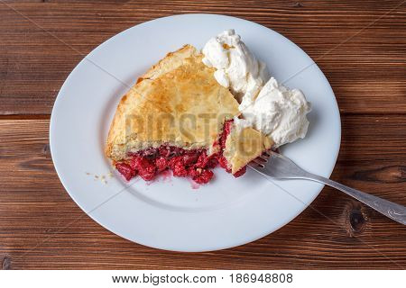 Fresh Homemade Pie With Cherry Pulp And Ice Cream On A Plate. A Slice Of A Cherry Pie With A Ruddy C