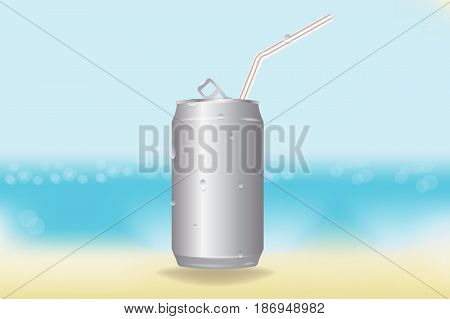 realistic vector blank aluminum soda can and a straw. chilled beverage on a hot beach. water droplets from the cold. mockup