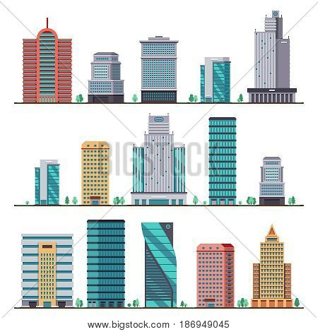 Buildings and modern city houses flat vector icons. Set of building office city, illustration of apartment architectural building