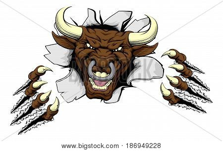 A mean looking bull mascot character breaking out through a wall