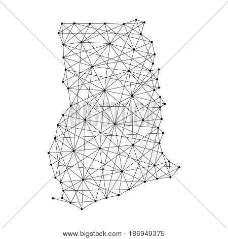 Map of Ghana from polygonal black lines and dots of vector illustration