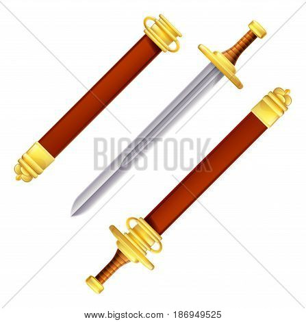 An illustration of a sword in and out of its scabbard