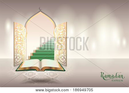 Ramadam kareem text greeting card. Open book of Koran and gateway to paradise. Vector illustration