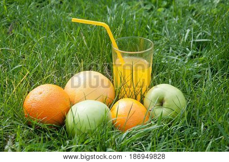 Glass of freshly pressed orange juice in glass with cocktail tube and fruits apples on green grass