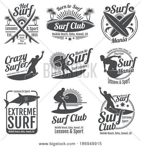 Surfing club vector vintage emblems. Surf board on wave signs. Summer tropical beach shore labels. Emblem surf club illustration