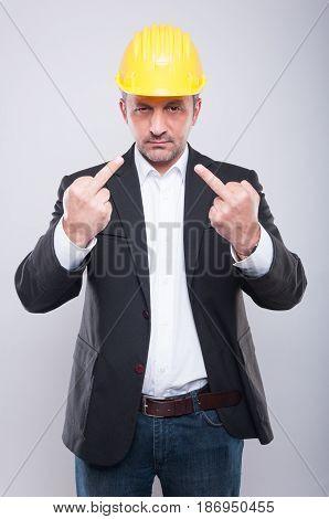 Foreman Wearing Hardhat Making Double Obscene Gesture