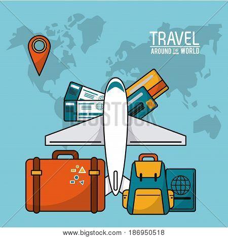 travel around the world. airplane luggage passport tickets credit card map world vector illustration