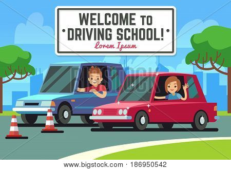Driving school vector background with young happy driver in cars on road. Education driving car concept illustration