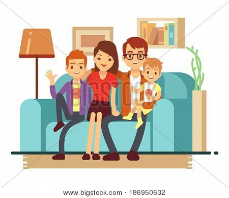 Smiling young happy family on sofa. Man, woman and their children in living room vector illustration. Parents with children sitting on sofa