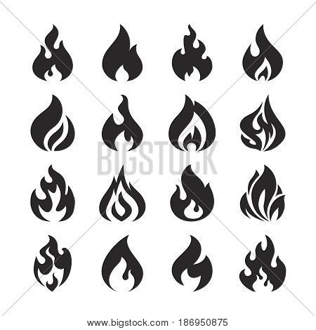 Fire flame and bonfire vector silhouette icons set. Silhouette of fire decoration icon, illustration of hot campfire isolated on white background
