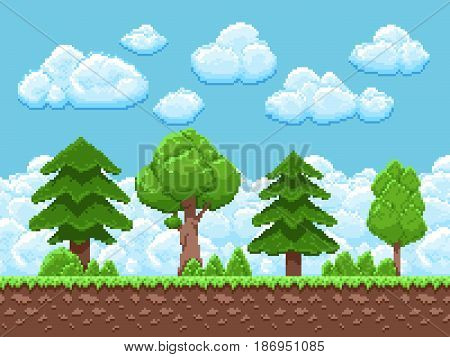 Pixel game vector landscape with trees, sky and clouds for 8 bit vintage arcade game. Landscape game scene interface illustration