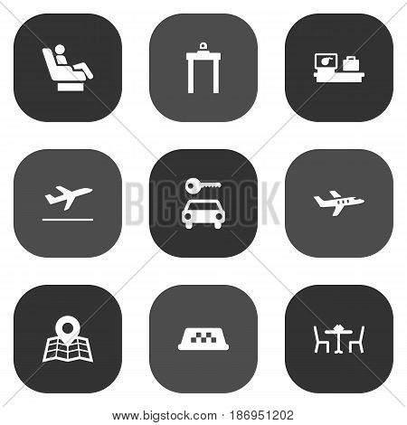 Set Of 9 Land Icons Set.Collection Of Metal Detector, Location, Cab And Other Elements.