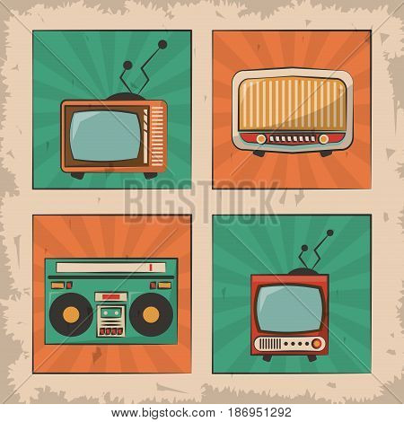 vintage tv radio retro device image vector illustration