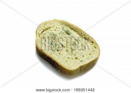 Spoiled bread with a mold on a white background.