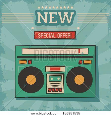 vintage technology stereo cassette music vector illustration